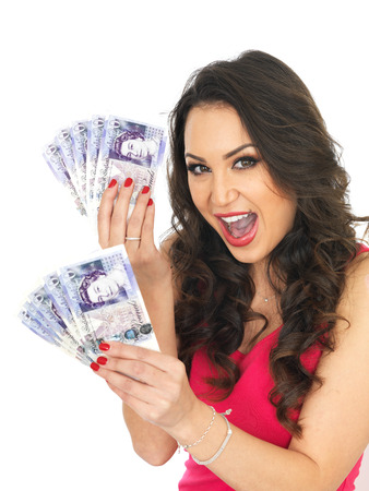 thirty something: Happy Young Woman Holding a Fan of Money Stock Photo