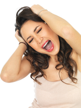thirty something: Fed Up Unhappy Attractive Young Woman Stock Photo