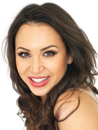 thirty something: Happy Confident Attractive Young Woman Smiling Stock Photo