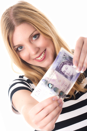 Model Released. Young Woman Holding Money photo