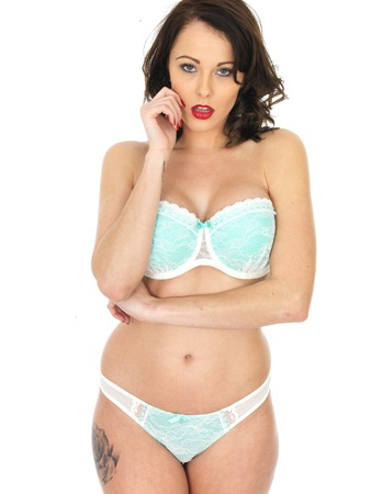 erotic fantasy: Sexy Sensual Young Pin Up Model in Lingerie Stock Photo
