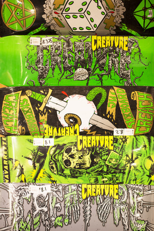 shop display: Collection of Colourful Skate Boards in a Shop Display