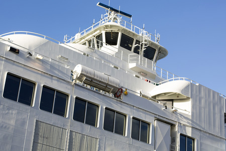 superstructure: Close Up of A Car Ferry Superstructure and Bridge in Stavanger Harbour Stock Photo