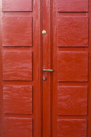 wood panelled: Red Painted Wooden Double Door With Brass Handle in Stavanger Norway