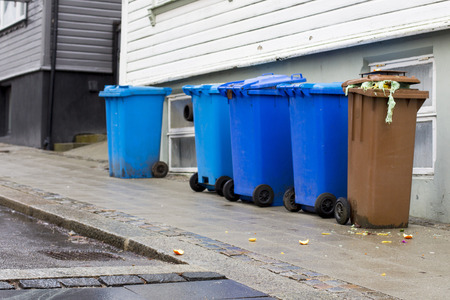 public waste: Public Plastic Waste Collection Wheelie Bins on Pavement Sandnes Norway