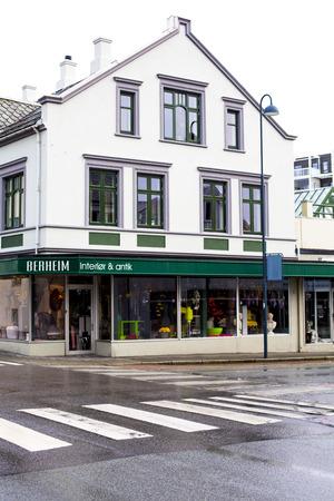 street corner: Street Corner Cityscape Sandnes Stanvanger Norway on a Wet Grey Winter Morning Editorial