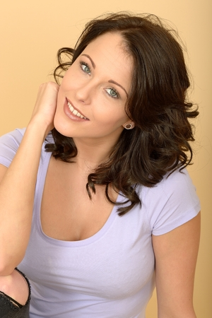 unworried: Happy Relaxed Attractive Young Woman Portrait