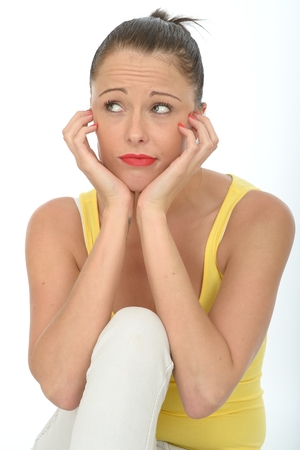 daft: Portrait of a Bored Fed Up Young Woman Looking Unhappy Stressed and Depressed Stock Photo