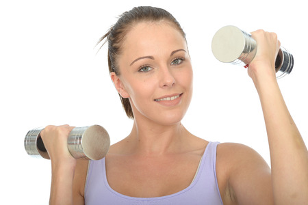 dumb: Healthy Happy Young Woman Smiling Training With Dumb Bell Weights