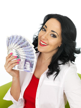 Happy Beautiful Young Hispanic Woman in Her Twenties Holding Money