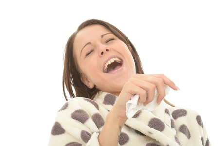 Attractive Young Woman In Her Twenties Laughing Her Head Off