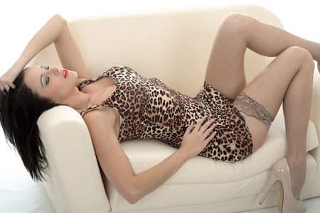 nude pose: Sexy Young Woman In Her Twenties Wearing A Short Leopard Skin Print Mini Dress and Nude Stockings