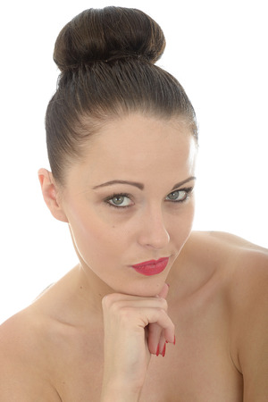 a situation alone: Portrait Of An Attractive Young Woman Resting Her Head On Her Hand Looking Confident and Happy Shot Against A White Background