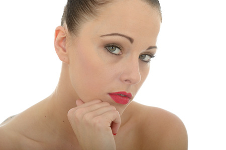 reasoning: Portrait Of A Thoughtful Attractive Beautiful Young Caucasian Woman Looking Into The Camera In A Sensual Fashion Against White Stock Photo