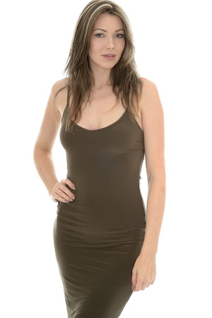 sex appeal: Beautiful Young Woman Wearing a Sexy Tight Fashionable Fitting Evening Dress