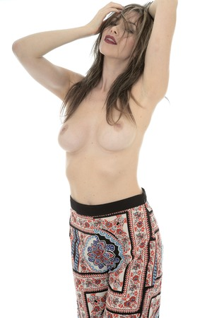 semi nude: Attractive Seductive Young Sexy Topless Pin Up Model Wearing Hippy Pants