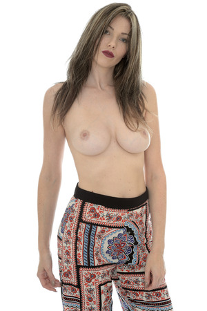 sex appeal: Attractive Seductive Young Sexy Topless Pin Up Model Wearing Hippy Pants