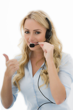 chatty: Attractive Young Business Woman Using a Telephone Headset Calling Clients Against A White Background