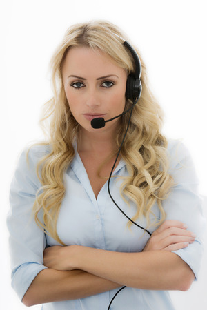 fed up: Attractive Young Business Woman Using a Telephone Headset Calling Clients Against A White Background
