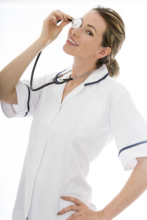 nhs: Attractive Young Female Doctor With a Stethoscope in Uniform Isolated Against a White Background