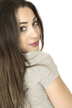 long dark hair: Happy Young Woman Long Dark Hair Looking Back Over Her Shoulder