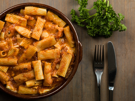Italian Style Meal of Spicy Penne Arabiatta Pasta