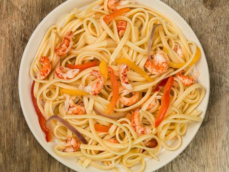linguine pasta: Italian Style Linguine Pasta With Seafood Crayfish Tails