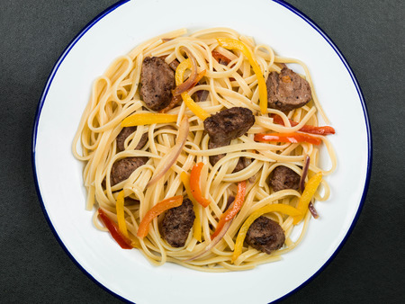 linguine pasta: Italian Style Linguine Pasta With Sausage and Peppers Food Stock Photo