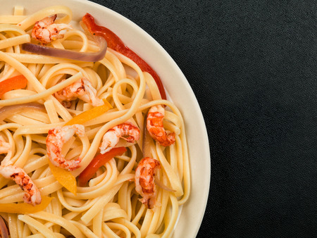 Italian Style Linguine Pasta With Seafood Crayfish Tails