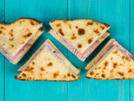 Cheese and Ham Toasted White Bread Sandwich Stock Photo