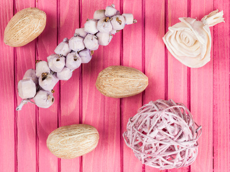 scented: Colorful Scented Potpourri on a Pink Background