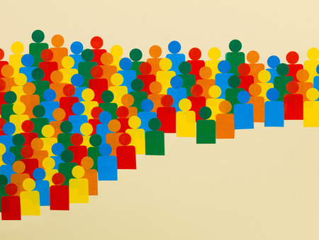 Illustration of a Crowd of Multicolored People Against a Cream Background With Copy Space Stock Photo