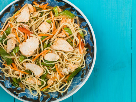 Chinese Style Sweet Chilli Chicken and Noodle Salad Stock Photo