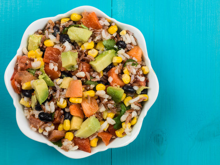 Mexican Rice and Avocado Salad With Copy Space