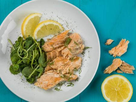 Poached Salmon and Watercress Salad Against a Blue Background Stock Photo