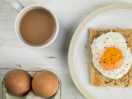 Poached Egg on Toasted Bread Breakfast Food With a Mug of Tea or Coffee
