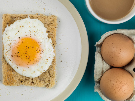 Poached Egg On Toasted Bread Breakfast Food With A Mug Of Tea Or Coffee And Two