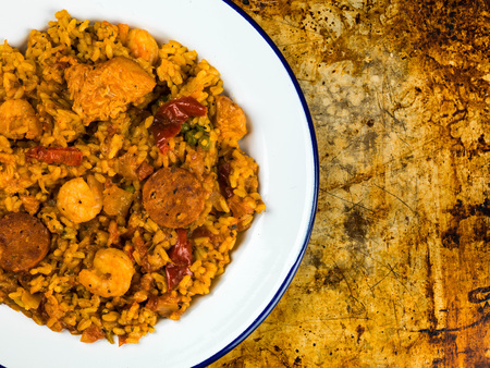 Chicken Smoked Chorizo and King Prawn Paella Meal On An Oven Tray