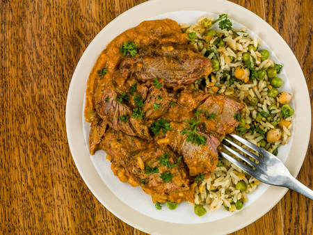 Aromatic Lamb Curry With Vegetable Rice Dark Oak Wooden Background