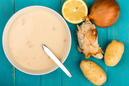 Bowl of Homemade Chicken Soup Stock Photo