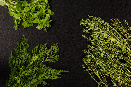 Selection of Fresh Herbs Basil Dill and Thyme Against a Black Background Stock Photo