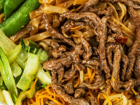 Thai Style Beef Noodles in Chilli Sauce Фото со стока