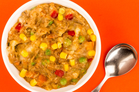 Traditional Shepherd's Pie And Vegetables Served In A Bowl With Sweet Corn And Red Peppers