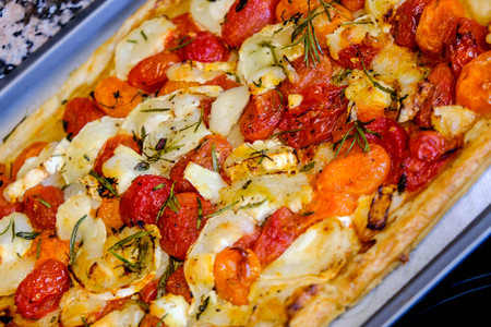 Goats Cheese and Tomato Baked Vegetarian Flan