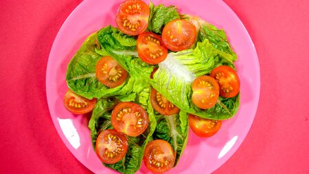 Cherry Tomatoes and Lettuce Leaves Summer Salad