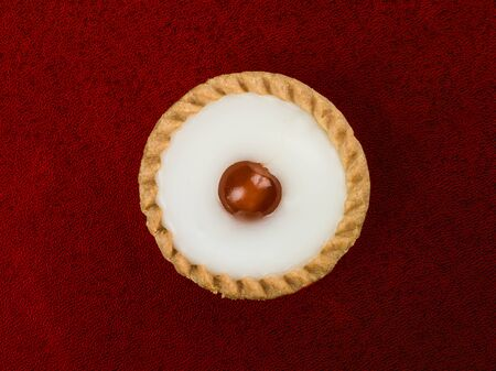 Individual Single Iced Bakewell Tart Topped With a Cherry