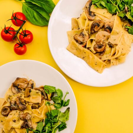 Italian Style Vegetarian Mushroom Pappardelle Pasta Meal With a Fresh Summer Green Salad