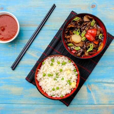Chinese Style Beef in Black Bean Sauce With Egg Fried Rice Banco de Imagens