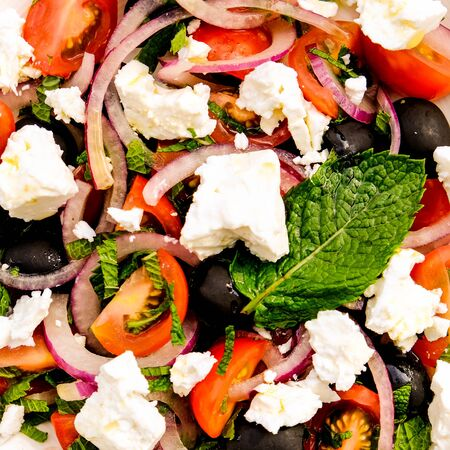 Greek Style Mediterranean Feta Cheese and Fresh Salad With Tomatoes and Black Olives