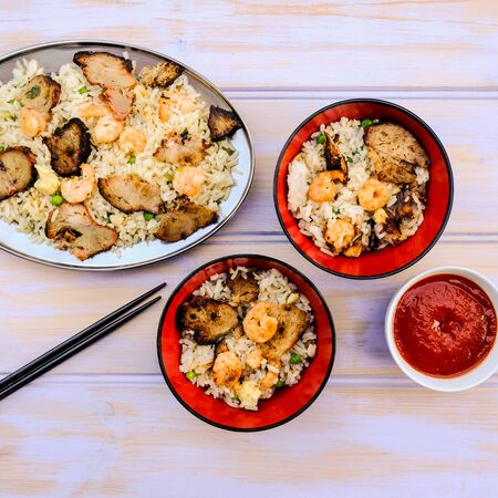 Chinese Style Egg Fried Rice With Pork and King or Tiger Prawns